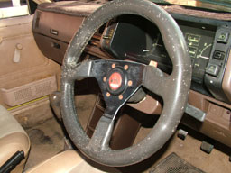steering wheel covered in mould